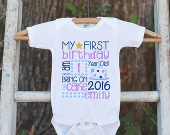 Girls First Birthday Outfit - 1st Birthday Onepiece or Tshirt For Girl 1st Birthday Party - Girls Birthday Shirt - Birthday Stat Shirt