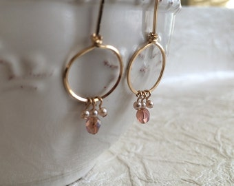 Gold-fill Drop Hoops with Pearls and Pink Beads