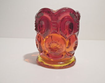 Ruby Red and Slight Amberina Moon and Star Toothpick holder