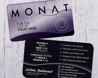 Monat Business Cards - Silver Purple Design with Black Back - Digital Download Only - Flattened print ready PDF
