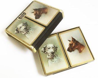 Vintage Playing Cards with Dog Illustrations, Bridge Cards, Boxed Double Deck - Dalmation & Great Dane