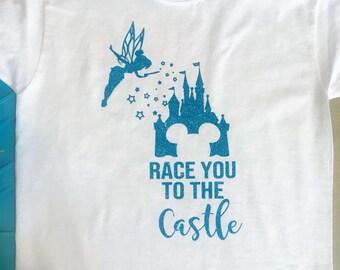 Race You To The Castle Disneyworld or Disneyland Tshirt