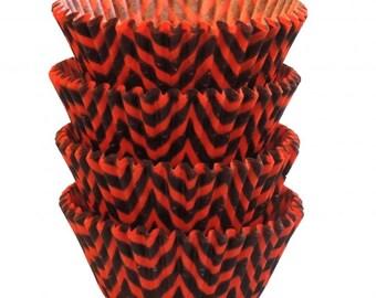 Black Orange Chevron Baking Cups - Standard Size