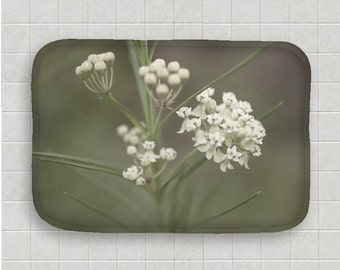 Bath Mat, Grey and White, Wildflower Decor, Soft and Dreamy, Bathroom Art, Flower Images, Macro Photography, Pretty Bath Accessories