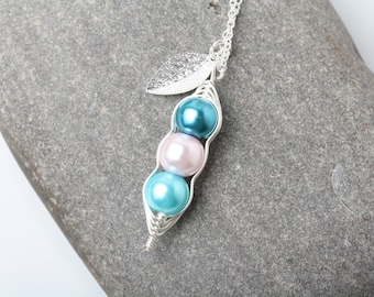 Peas in a Pod Necklace, personalized pea in pod pendant necklace, Birthstone necklace mother gift, grandmother gift, baby shower gift
