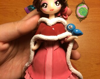 Doll figurine statue decoration Christmas kawaii polymer clay and the beast