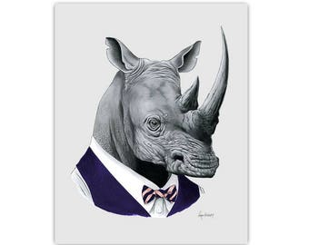 Rhino art print - Rhinoceros - Modern kid art - Animals in Clothes - Animal Art - Modern Decor - Ryan Berkley Illustration 8x10