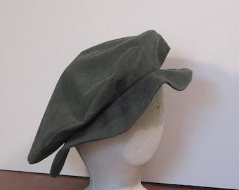 Dark green Medieval renassaince slouch hat pancake hat