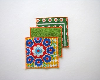kitsch floral mug rugs - colorful bright mod coasters - set of 3x - hostess gift - kitsch home decor - retro missmatched trivets