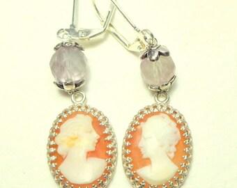 Victorian Cameo Earrings,Antique Cameos,Hand Carved Conch Shell Cameo,Victorian Cameo Earrings, Cameo Jewellry, Victorian Earrings,OOAK