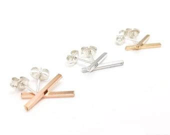 Inertia Post Earrings // LanaBetty // Contemporary Jewelry // Sterling Silver Rose Gold Earrings // modern minimalist // modern jewelry