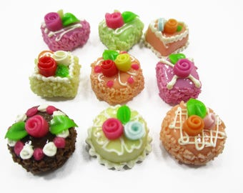 Dollhouse Miniatures Food Mixed Color Flower Cake 1 cm Set 9 Cakes Supply Charms 14383
