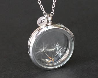 real Dandelion seed necklace Make A Wish Window Locket Necklace with initial, glass necklace, bridesmaid gifts, real plant good luck