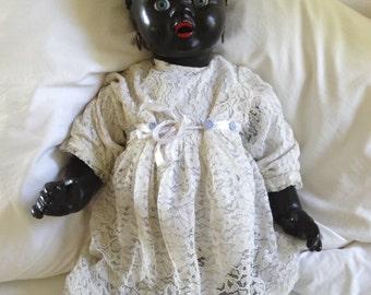 German Bisque Black Antique Baby Doll 1930's