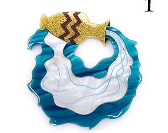 "Aquarius ""The Water Bearer"" Star Sign Horoscope Laser cut acrylic brooch Water jug"