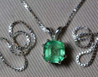 Emerald Necklace, Colombian Emerald Pendant 1.15 Carat Certified 1,025.00, Sterling Silver, Real Genuine Natural Jewellery, May Birthstone