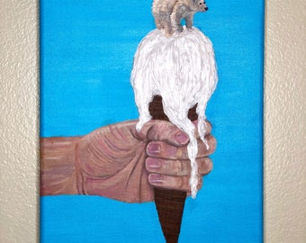 Original Polar Bear on Melting Ice Cream Painting - Molding Paste, Acrylic Paint, and Gloss Medium - From the Endangered Species Series