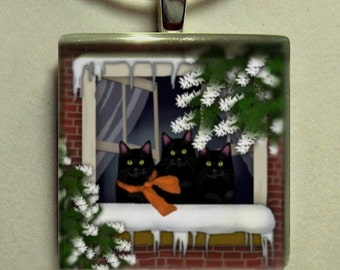 BLACK CATS FROZEN window necklace jewelry art gift pet 1 inch glass tile pendant with chain