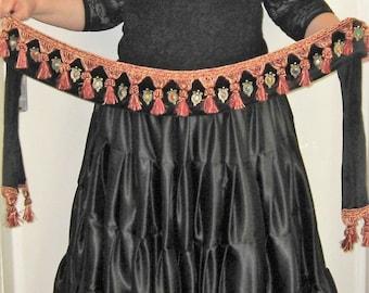 TB66 Tribal belt, Belly dance belt, Tribal belly dance, ATS tribal fusion gypsy belly dance belt, Belly dancing belt, Tribal tassel belt