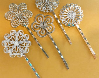 Mixed 10 pcs Filigree Bobby Pin Blanks, Silver, Flower Hair Pins , brass Hair Clip , mixed hair clip ,  perfect for resin cabochon, flower ,