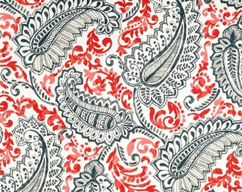 Coral, Gray & Tan Contemporary Indoor Outdoor Fabric by the Yard Designer Drapery Curtain or Upholstery Fabric Coral and  Gray Fabric S139