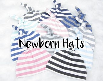 Striped Newborn Hats // Baby Knot Hat Baby Hospital Hat New Baby Hats Newborn Hat- Coordinates with Ginger Lous Personalized Blankets
