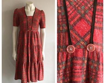 Vintage 1970's Checked Smock Dress