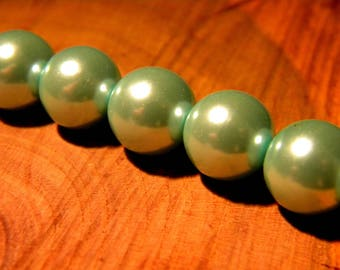 20 clear 10 mm Blue - Pearl - iridescent glass beads - way PF3 16 cultured pearl