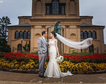 Single layer chapel  wedding veil white, diamond or ivory