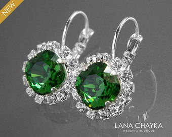 ON SALE Green Crystal Halo Earrings Swarovski Dark Moss Rhinestone Earrings Green Silver Leverback Wedding Earrings Green Crystal Jewelry