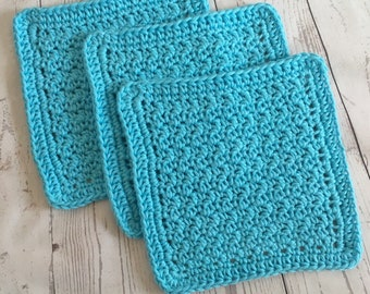 Aqua Blue Wash Cloths Kitchen Cotton Dish Cloths Baby Cloths Crochet Wash Cloth Set of 3 Ready to Ship