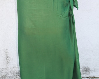 LEAF GREEN-Pareo-solid color-full and half sized-rayon- sarong-lavalava-Tahitian costume skirt