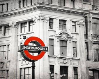 London Underground Print, London Tube Sign, London Print, London Photography, Black and White,  Red, Travel Decor, London Wall Art