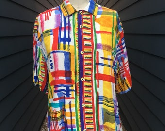 Vintage painted like blouse // colorful blouse // rainbow blouse // vintage button up // 1990s blouse