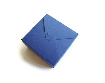 Small blue box / square box / jewelry box / small treat box / wedding favors box / gift box / navy blue / Set of 12