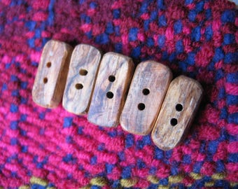 039 Four natural, rectangular, small olive wood buttons, handmade, one of a kind.