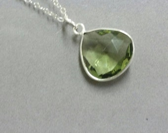 Green Amethyst Necklace, Prasiolite Necklace, Amethyst Pendant, Sterling Silver Necklace, February Birthstone Necklace  Maggie McMane Design