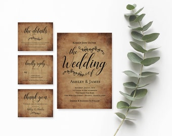 Modern Rustic Wedding Invitation- Rustic Wedding Invitation Template- Country Invitation Printable- Barn Wedding Invitation- Rustic Invites