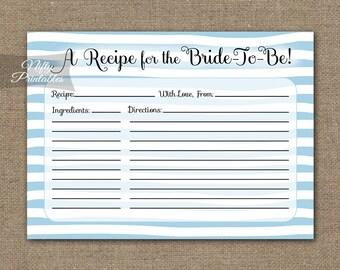 Bridal Shower Recipe Cards - Printable Instant Download - Blue Bridal Shower Recipe Card - Blue Bridal Shower Games - Stripe Recipe DSB