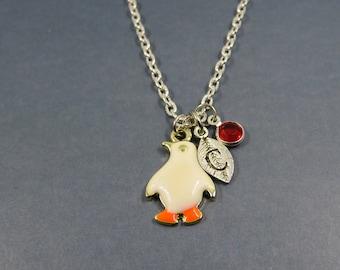 custom penguin necklace - bird penguin charm - personalized gift-penguin - Penguin - initial letter necklace - swarovski birthstone
