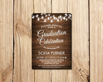 Graduation Invitation, Graduation Party Invitation, Rustic Graduation Announcement, Printable,  wooden, Graduation Invite