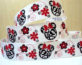 5 YDS Minnie Mouse with Flowers Ribbon