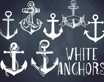 ANCHOR clip art, white, anchor digital clip art, nautical, coastal, white clip art, Instant download , clip art white anchors, PNG anchors
