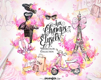 Paris Clipart French Fashion Watercolor Eiffel Tower Floral Illustration Modern Vintage Dress Shoes Retro Scooter Handpainted Blogger Theme