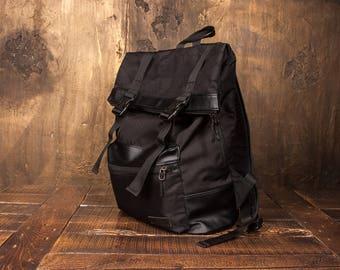 Vegan Backpack Zaino Roll Top Backpack Laptop Backpack Sac a Dos Canvas Backpack Mochila Travel Backpack Black Backpack Men Rucksack Women
