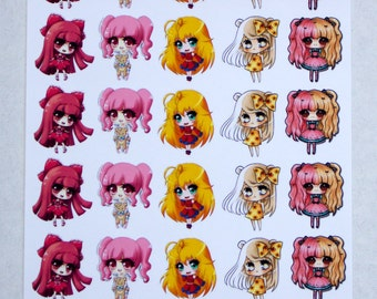 Anime Chibi Girls! Fantasy Stickers, Anime Characters, Erin Condren Planner, Party Stickers, Kawaii Stickers, Chibi Stickers, Girl Stickers
