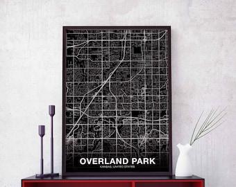 Map overland park ks Etsy