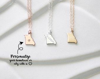 State Charm Pendant Missouri Necklace, Missouri Bracelet, Small Gold Missouri with Heart, Missouri Gold State Bracelet