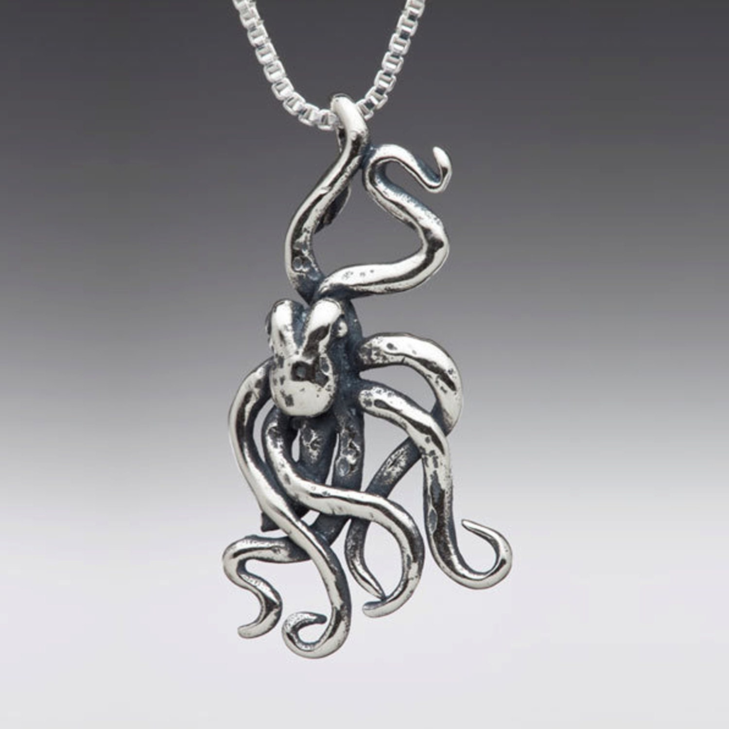 antique octopus htm necklace pendant silver