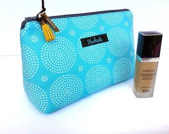 Aqua Spot Medium Cosmetic Bag, Aqua Spot Make Up Bag, Medium size, Travel bag, Toiletry Bag. Medium Cosmetic Bag. Hold All. Gift for her.